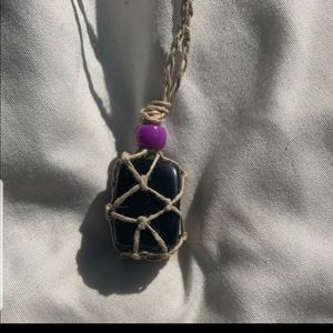 Black Obsidian hand made healing stone necklace